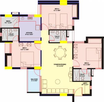 Chaitanya Sunnyvale (3BHK+3T (1,599 sq ft) Apartment 1599 sq ft)