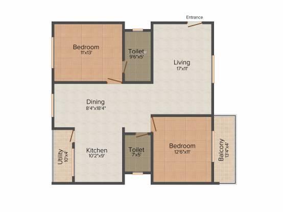 Sumadhura Anantham (2BHK+2T (1,200 sq ft) Apartment 1200 sq ft)