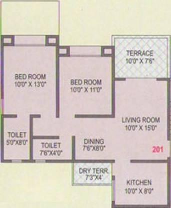 Dharmavat Sunder Samruddhi (2BHK+2T (866 sq ft) Apartment 866 sq ft)