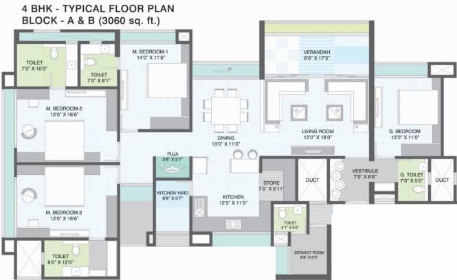 Gala Imperia (4BHK+4T (3,060 sq ft) Apartment 3060 sq ft)