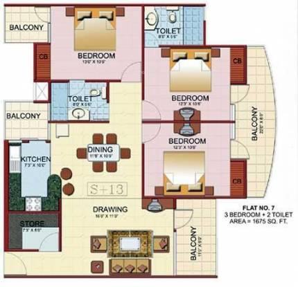JM Royal Park (3BHK+2T (1,675 sq ft) Apartment 1675 sq ft)