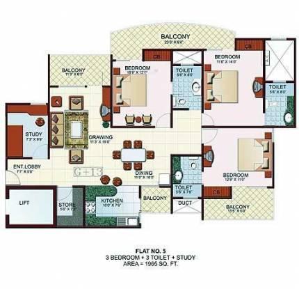 JM Royal Park (3BHK+3T (1,965 sq ft) Apartment 1965 sq ft)
