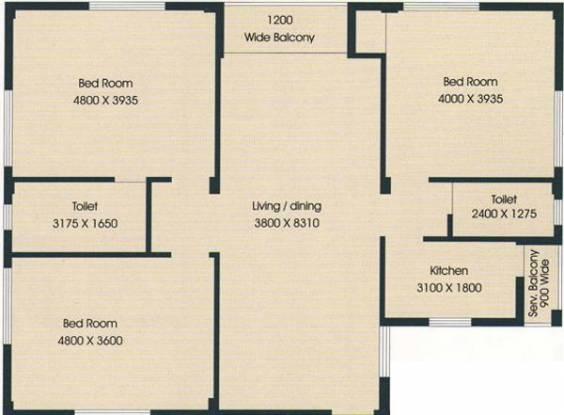 Bengal Peerless Anupama (3BHK+2T (1,440 sq ft) Apartment 1440 sq ft)