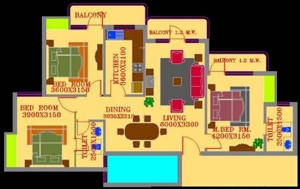ATS Village (3BHK+2T (1,500 sq ft) Apartment 1500 sq ft)