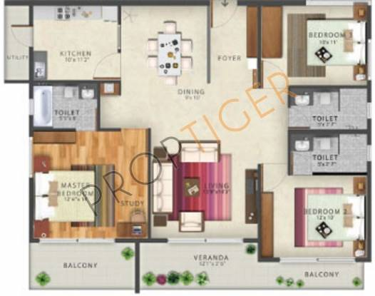 Axis Mithi (3BHK+3T (1,530 sq ft) Apartment 1530 sq ft)