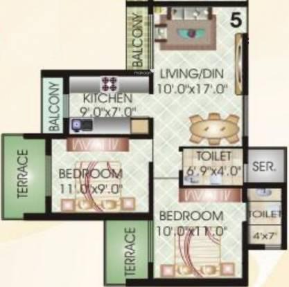 Juhi Niharika Residency (2BHK+2T (1,045 sq ft) Apartment 1045 sq ft)