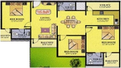 Purvi Purvi Meadows (3BHK+3T (1,440 sq ft) Apartment 1440 sq ft)