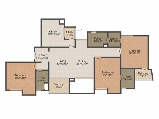Akshaya Metropolis (3BHK+2T (1,712 sq ft) Apartment 1712 sq ft)