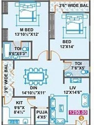 Thirtha Four Seasons (2BHK+2T (1,250 sq ft)   Pooja Room Apartment 1250 sq ft)