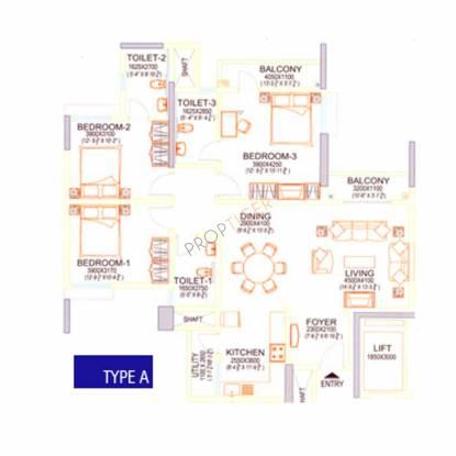 Sobha Beryl (3BHK+3T (1,659 sq ft) Apartment 1659 sq ft)