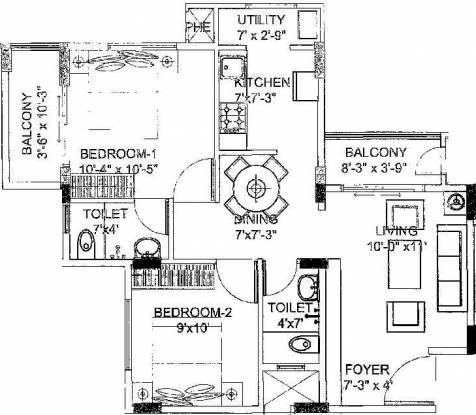 SPL Samethana Lake Front (2BHK+2T (865 sq ft) Apartment 865 sq ft)