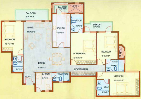 DLF Westend Heights (4BHK+5T (2,500 sq ft)   Servant Room Apartment 2500 sq ft)