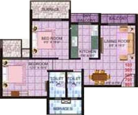 Shanti Hari Heights (2BHK+2T (1,135 sq ft) Apartment 1135 sq ft)