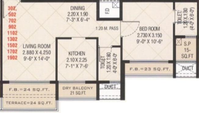 Marvels Shanti Heights (1BHK+2T (716 sq ft) Apartment 716 sq ft)