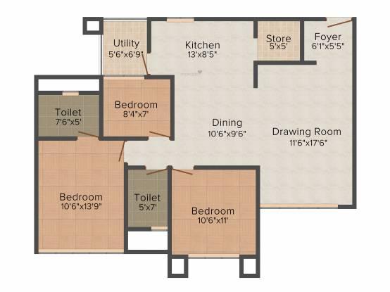 Nishant Richmond Grand (2BHK+2T (1,485 sq ft)   Study Room Apartment 1485 sq ft)