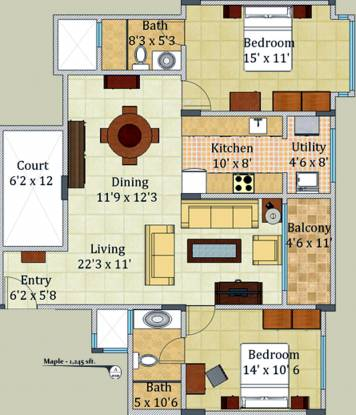 Surbacon Surbacon Maple (2BHK+2T (1,245 sq ft) Apartment 1245 sq ft)