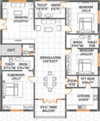 UMA Parkview Apartments (3BHK+3T (2,696 sq ft)   Pooja Room Apartment 2696 sq ft)