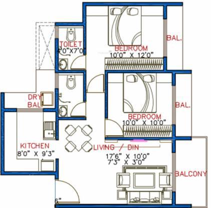 Lakhani Aura (2BHK+2T (985 sq ft) Apartment 985 sq ft)