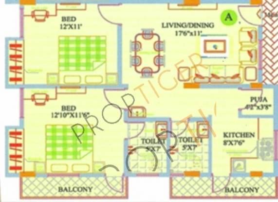 Sreenidhi Sreenidhi Residency (2BHK+2T (1,030 sq ft)   Pooja Room Apartment 1030 sq ft)