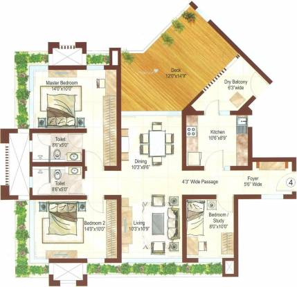 Ashford Royale (2BHK+2T (1,585 sq ft) + Study Room Apartment 1585 sq ft)