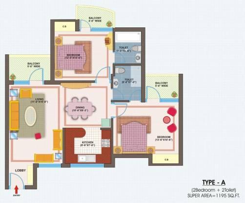 VXL Eastern Gates (2BHK+2T (1,195 sq ft) Apartment 1195 sq ft)