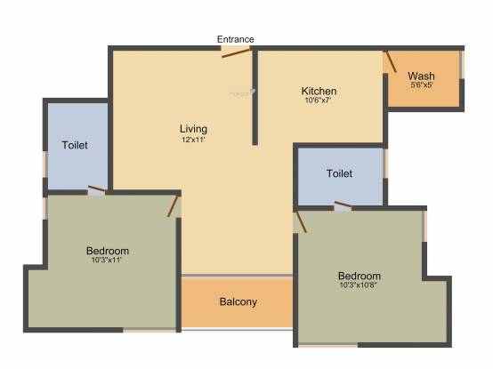Jamals Luxor (2BHK+2T (950 sq ft) Apartment 950 sq ft)