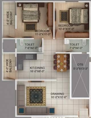 Green Aman Medows (2BHK+2T (1,075 sq ft) Apartment 1075 sq ft)