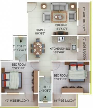 Green Amans Symphony (2BHK+2T (1,075 sq ft) Apartment 1075 sq ft)