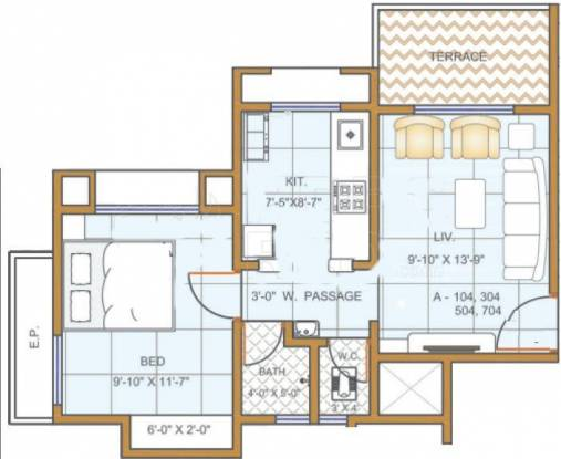 Charms City (1BHK+1T (695 sq ft) Apartment 695 sq ft)