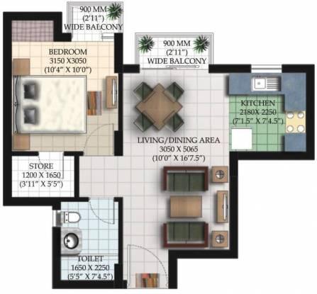 Ansal Santushti Enclave (1BHK+1T (795 sq ft) Apartment 795 sq ft)