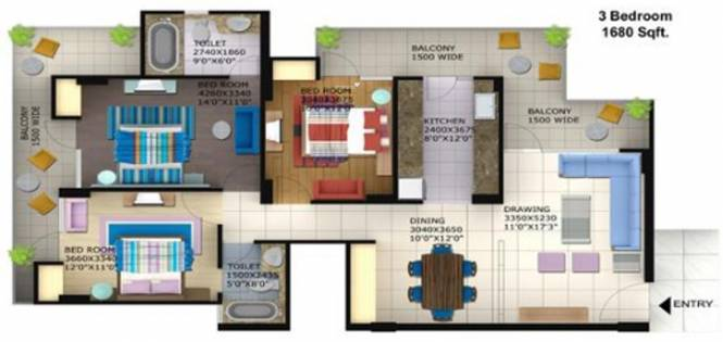 Foster Heights (3BHK+2T (1,680 sq ft) Apartment 1680 sq ft)
