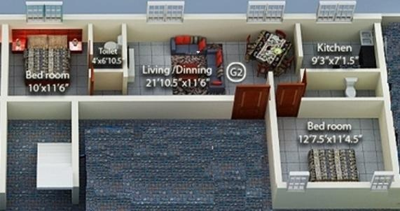 Geejay Rose Garden (2BHK+2T (905 sq ft) Apartment 905 sq ft)