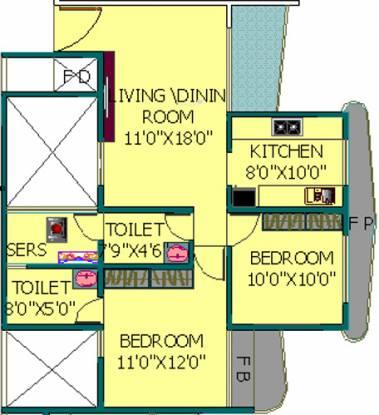 EV Zion I (2BHK+2T (1,100 sq ft)   Servant Room Apartment 1100 sq ft)