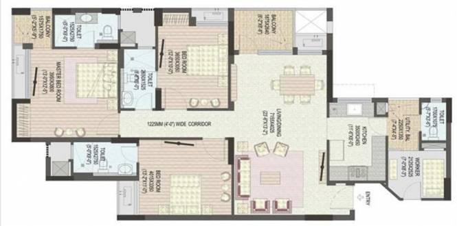 Jaypee Klassic Heights (3BHK+4T (1,670 sq ft) + Servant Room Apartment 1670 sq ft)