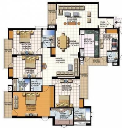 Purvanchal Heights (4BHK+4T (2,820 sq ft) + Study Room Apartment 2820 sq ft)