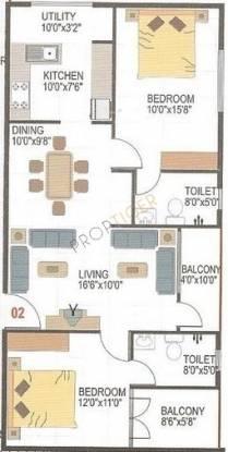 AR SM Maple (2BHK+2T (1,185 sq ft) Apartment 1185 sq ft)