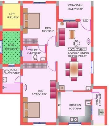 Natwest KP Natwest Viceroy (2BHK+2T (1,230 sq ft) Apartment 1230 sq ft)