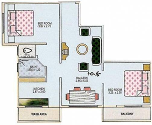 Green Amans Palace (2BHK+1T (1,125 sq ft) Apartment 1125 sq ft)