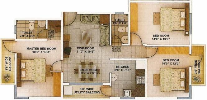 Green Amans Landmark (3BHK+2T (1,200 sq ft) Apartment 1200 sq ft)