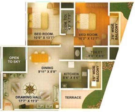Green Amans Majestic (2BHK+2T (1,202 sq ft) Apartment 1202 sq ft)