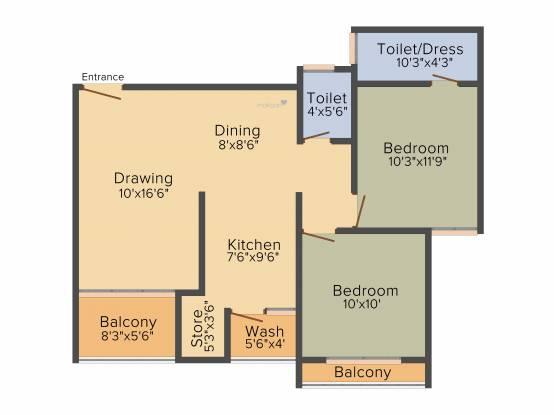 Sahajanand Oasis (2BHK+2T (1,152 sq ft) Apartment 1152 sq ft)