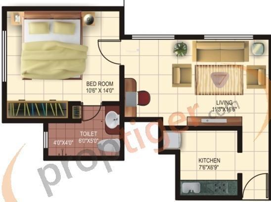 Mirchandani Maple Wood (1BHK+1T (550 sq ft) Apartment 550 sq ft)
