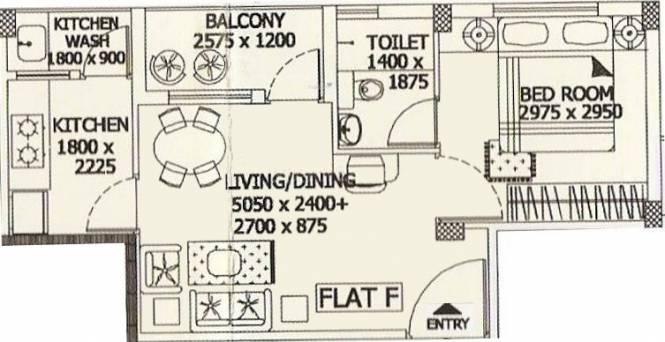Merlin Sapphire (1BHK+1T (564 sq ft) Apartment 564 sq ft)