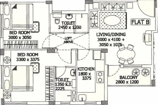 Merlin Sapphire (2BHK+2T (903 sq ft) Apartment 903 sq ft)