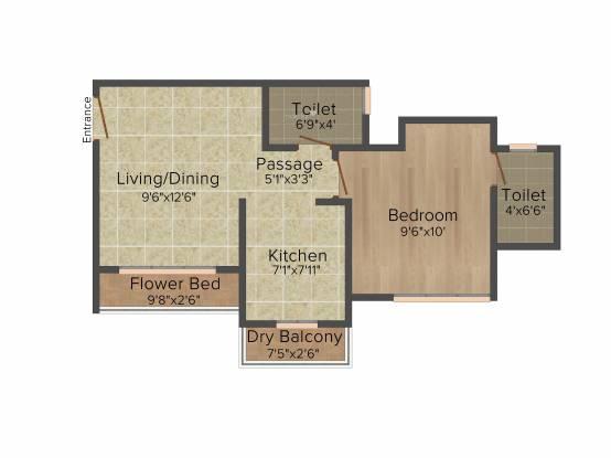 Hubtown Gardenia (1BHK+1T (675 sq ft) Apartment 675 sq ft)