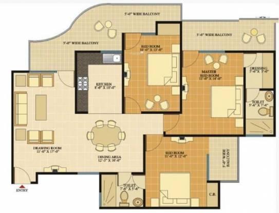 SVP Gulmohur Tower (3BHK+2T (1,560 sq ft) Apartment 1560 sq ft)