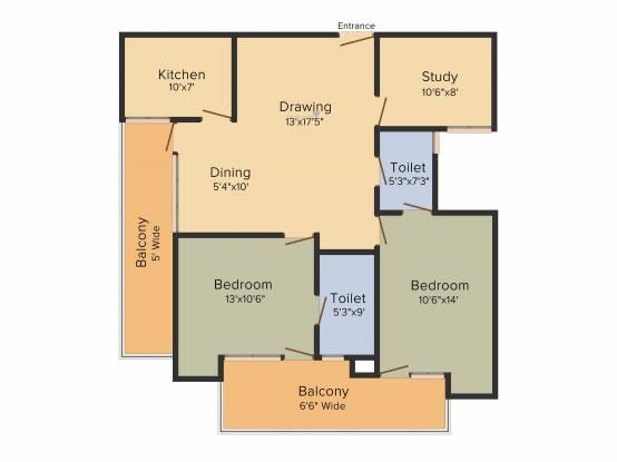 Ajnara Pride (2BHK+2T (1,437 sq ft)   Study Room Apartment 1437 sq ft)