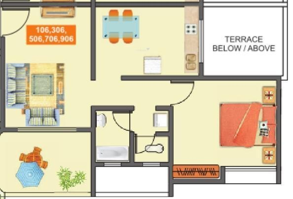 Mantra Majestica (1BHK+1T (631 sq ft) Apartment 631 sq ft)
