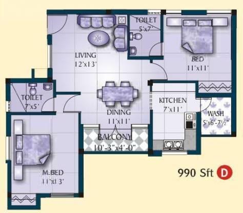 Jamals Orchid (2BHK+2T (990 sq ft) Apartment 990 sq ft)