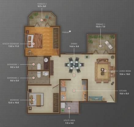 Atul Alcove (2BHK+2T (1,081 sq ft) Apartment 1081 sq ft)